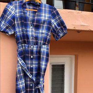 Flannel long blue dress